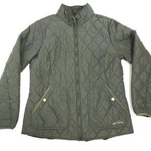 Eddie Bauer Green Quilted Full Zip Jacket Large